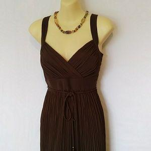 White House Black Market Dress Cocoa Pleated 4 EUC